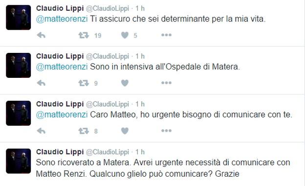 Claudio Lippi è in terapia intensiva: chiede di Matteo Renzi